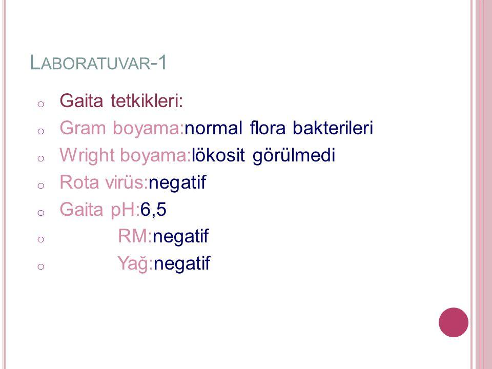 L ABORATUVAR -1 o Gaita tetkikleri: o Gram boyama:normal flora bakterileri o Wright boyama:lökosit görülmedi o Rota virüs:negatif o Gaita pH:6,5 o RM:negatif o Yağ:negatif