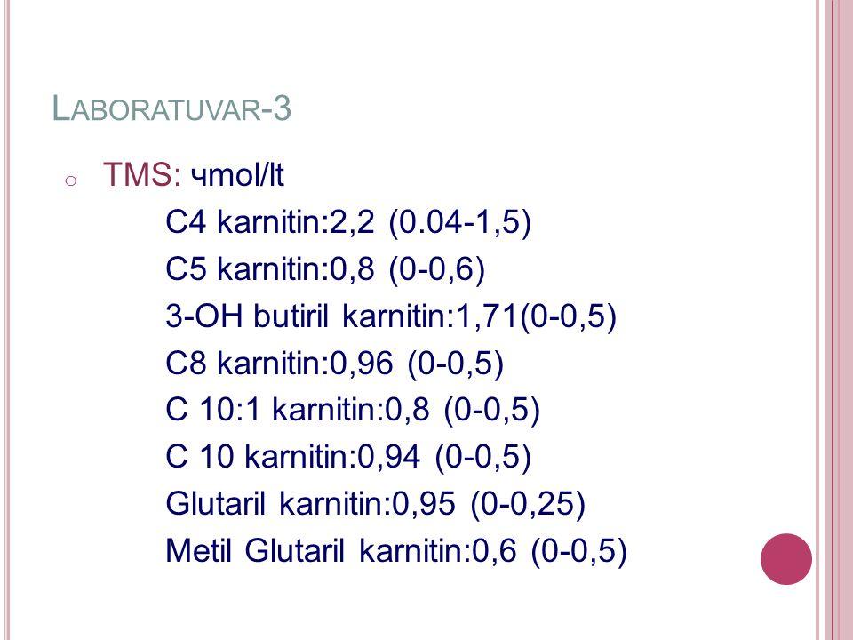 L ABORATUVAR -3 o TMS: чmol/lt C4 karnitin:2,2 (0.04-1,5) C5 karnitin:0,8 (0-0,6) 3-OH butiril karnitin:1,71(0-0,5) C8 karnitin:0,96 (0-0,5) C 10:1 karnitin:0,8 (0-0,5) C 10 karnitin:0,94 (0-0,5) Glutaril karnitin:0,95 (0-0,25) Metil Glutaril karnitin:0,6 (0-0,5)