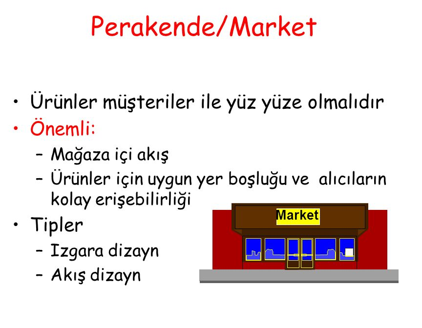Perakende/Market Ürünler müşteriler ile yüz yüze olmalıdır Önemli: –Mağaza içi akış –Ürünler için uygun yer boşluğu ve alıcıların kolay erişebilirliği