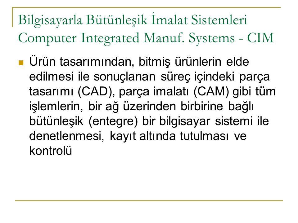 Bilgisayarla Bütünleşik İmalat Sistemleri Computer Integrated Manuf.