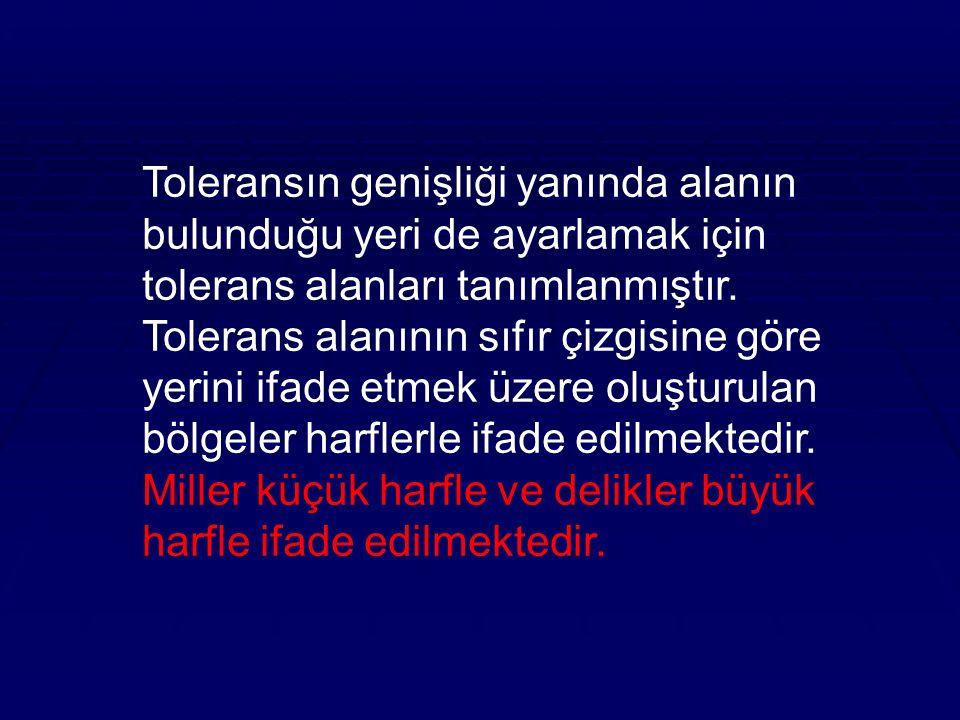 Toleransın genişliği yanında alanın bulunduğu yeri de ayarlamak için tolerans alanları tanımlanmıştır.