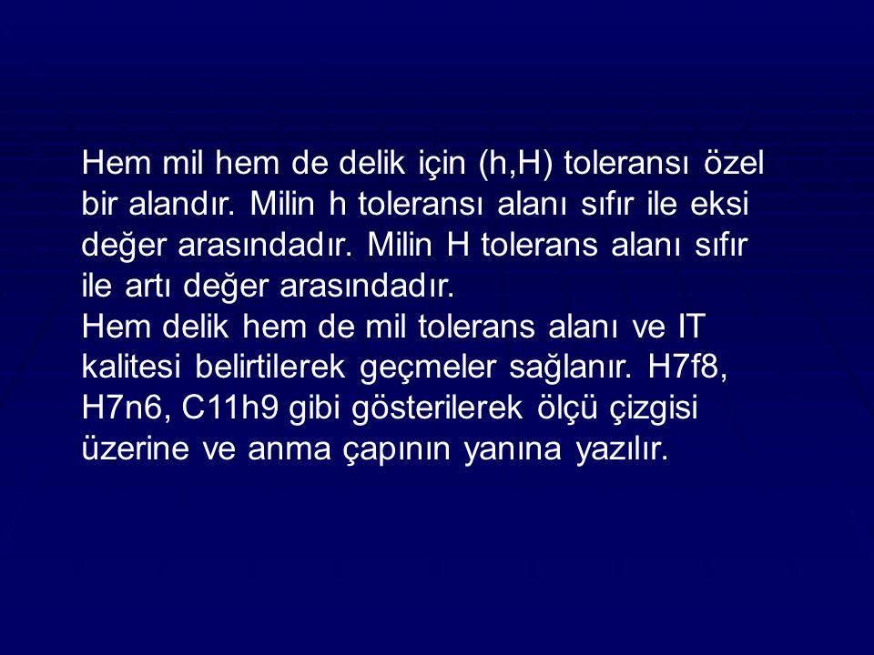 Hem mil hem de delik için (h,H) toleransı özel bir alandır.