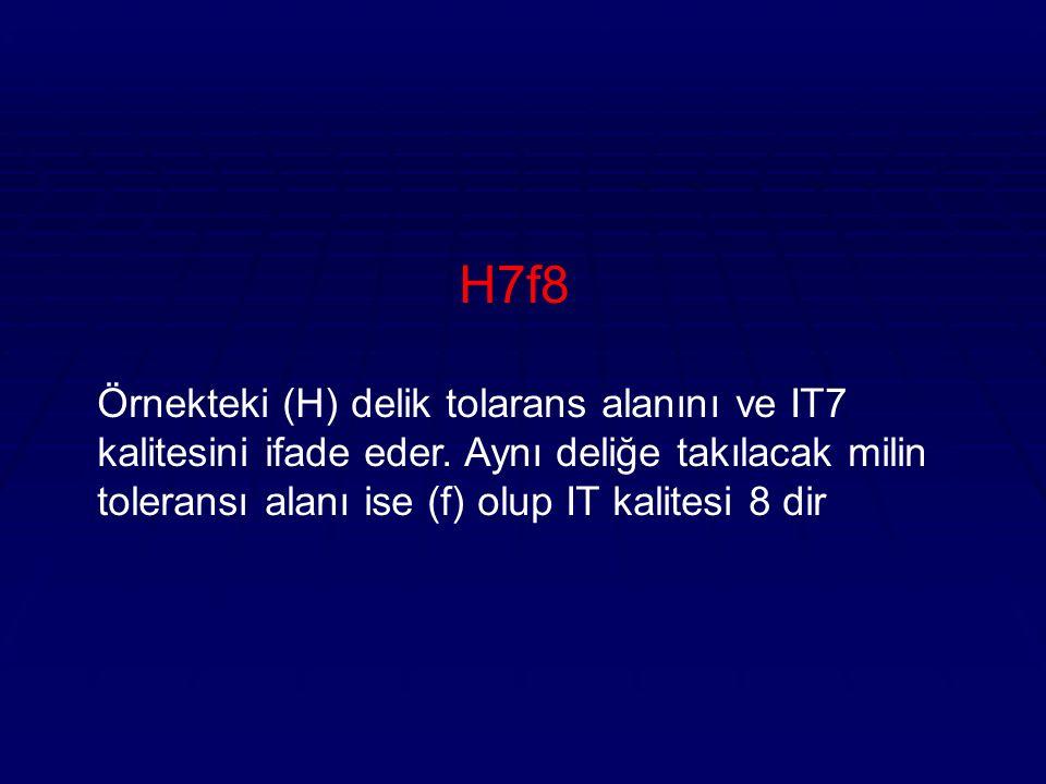 H7f8 Örnekteki (H) delik tolarans alanını ve IT7 kalitesini ifade eder.