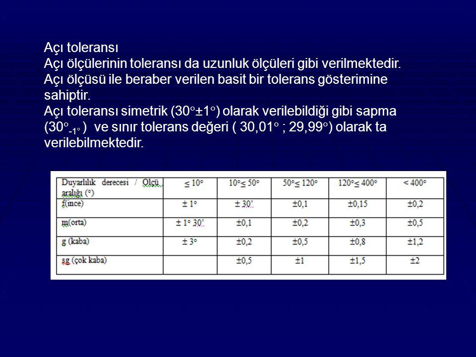 Açı toleransı Açı ölçülerinin toleransı da uzunluk ölçüleri gibi verilmektedir.