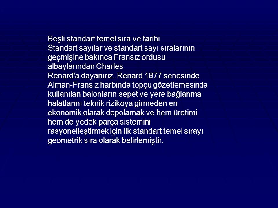 Beşli standart temel sıra ve tarihi Standart sayılar ve standart sayı sıralarının geçmişine bakınca Fransız ordusu albaylarından Charles Renard a dayanırız.