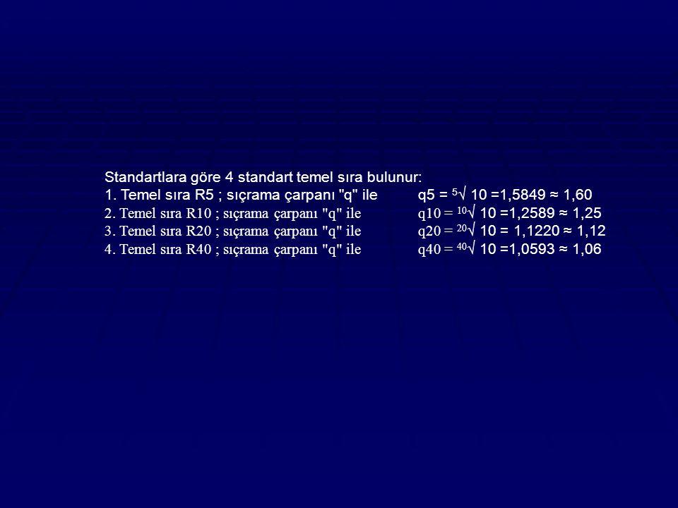 Standartlara göre 4 standart temel sıra bulunur: 1.