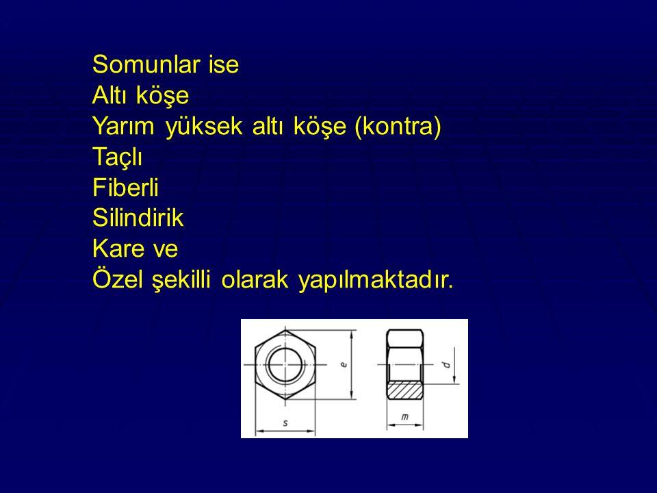 Somunlar ise Altı köşe Yarım yüksek altı köşe (kontra) Taçlı Fiberli Silindirik Kare ve Özel şekilli olarak yapılmaktadır.