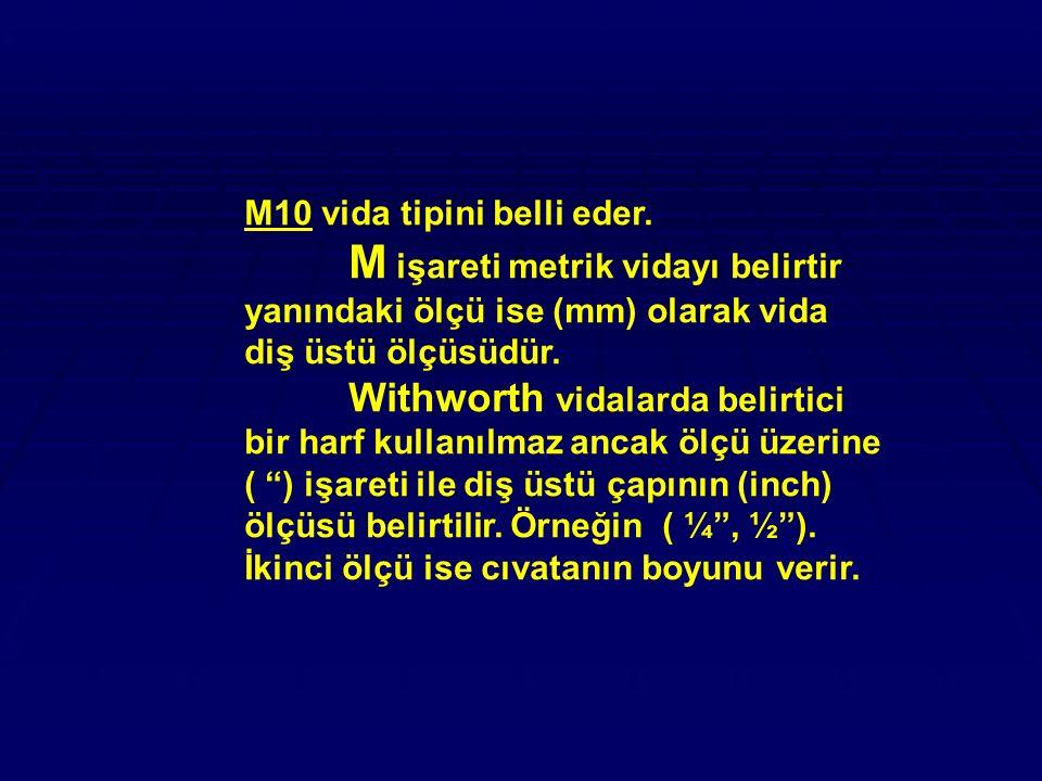 M10 vida tipini belli eder. M işareti metrik vidayı belirtir yanındaki ölçü ise (mm) olarak vida diş üstü ölçüsüdür. Withworth vidalarda belirtici bir