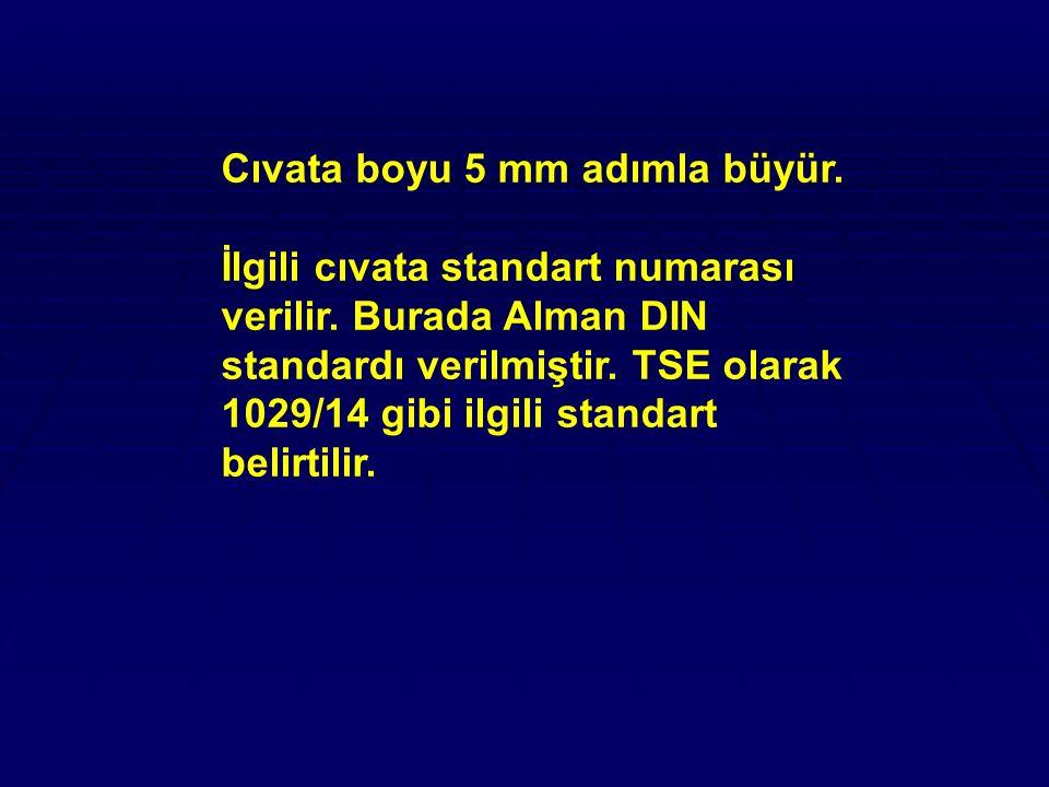 Cıvata boyu 5 mm adımla büyür. İlgili cıvata standart numarası verilir. Burada Alman DIN standardı verilmiştir. TSE olarak 1029/14 gibi ilgili standar