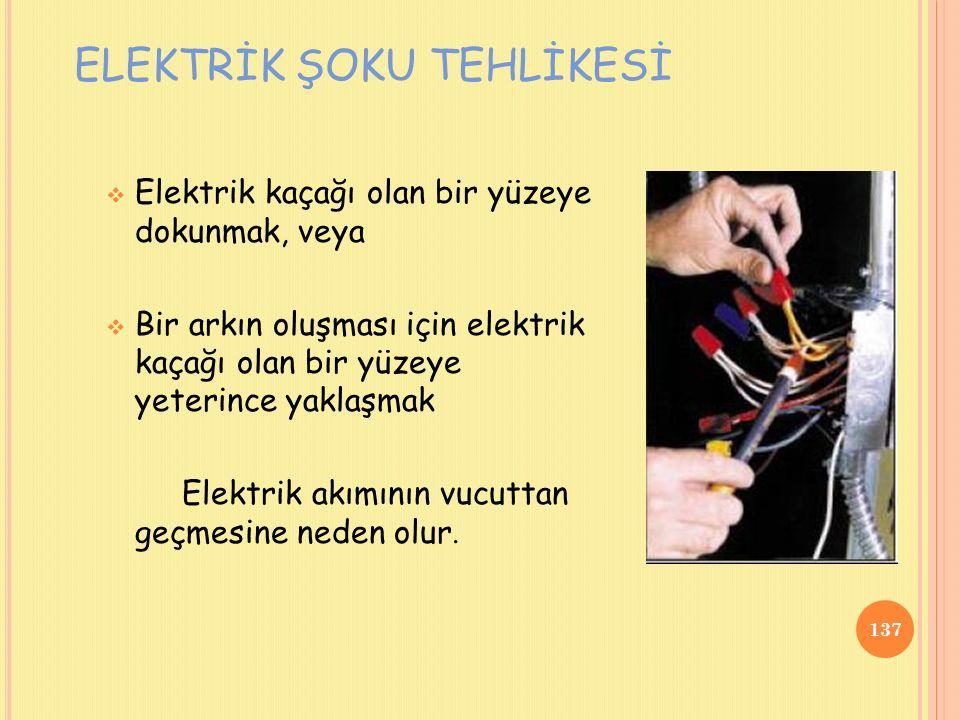  Elektrik kaçağı olan bir yüzeye dokunmak, veya  Bir arkın oluşması için elektrik kaçağı olan bir yüzeye yeterince yaklaşmak Elektrik akımının vucuttan geçmesine neden olur.