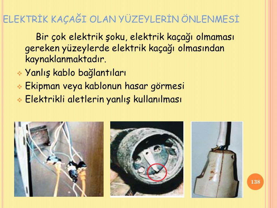 Bir çok elektrik şoku, elektrik kaçağı olmaması gereken yüzeylerde elektrik kaçağı olmasından kaynaklanmaktadır.