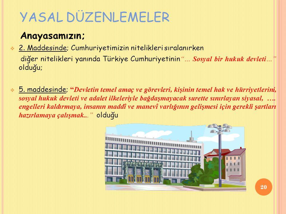 YASAL DÜZENLEMELER Anayasamızın;  2.