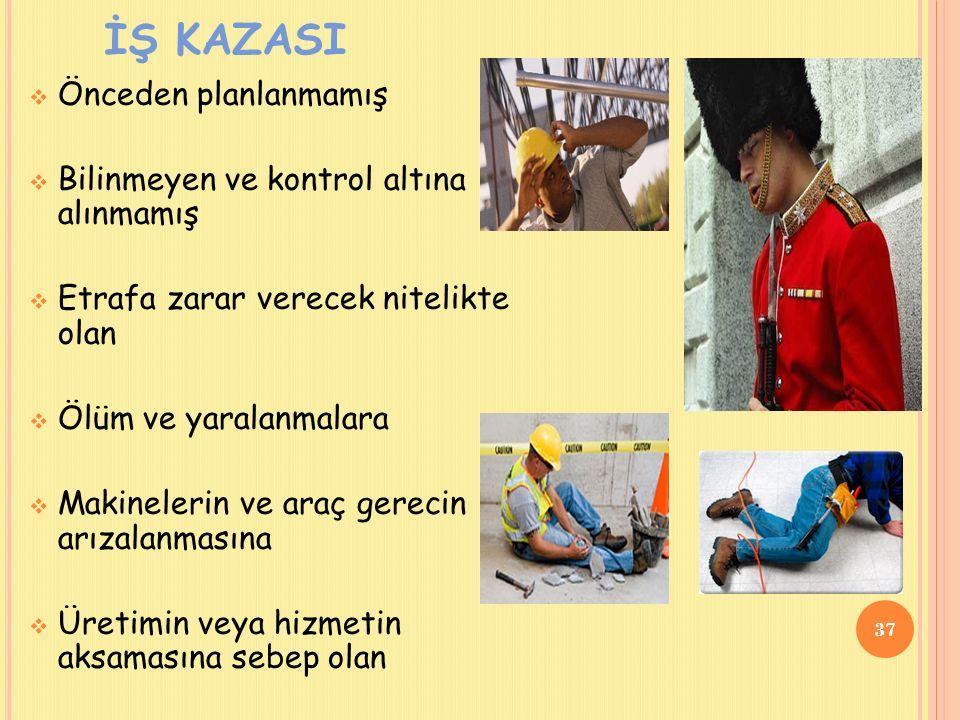 İŞ KAZASI  Önceden planlanmamış  Bilinmeyen ve kontrol altına alınmamış  Etrafa zarar verecek nitelikte olan  Ölüm ve yaralanmalara  Makinelerin ve araç gerecin arızalanmasına  Üretimin veya hizmetin aksamasına sebep olan 37