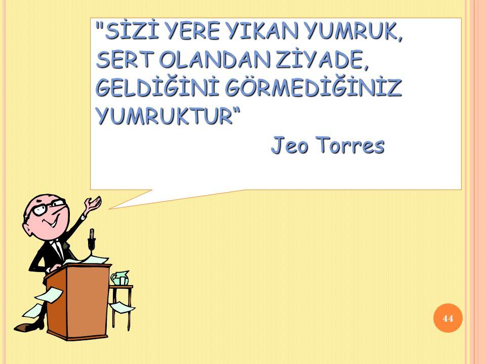 SİZİ YERE YIKAN YUMRUK, SERT OLANDAN ZİYADE, GELDİĞİNİ GÖRMEDİĞİNİZ YUMRUKTUR Jeo Torres Jeo Torres 44