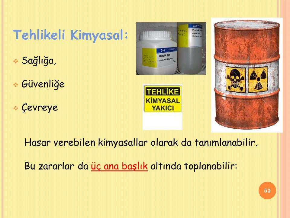 Tehlikeli Kimyasal:  Sağlığa,  Güvenliğe  Çevreye Hasar verebilen kimyasallar olarak da tanımlanabilir.