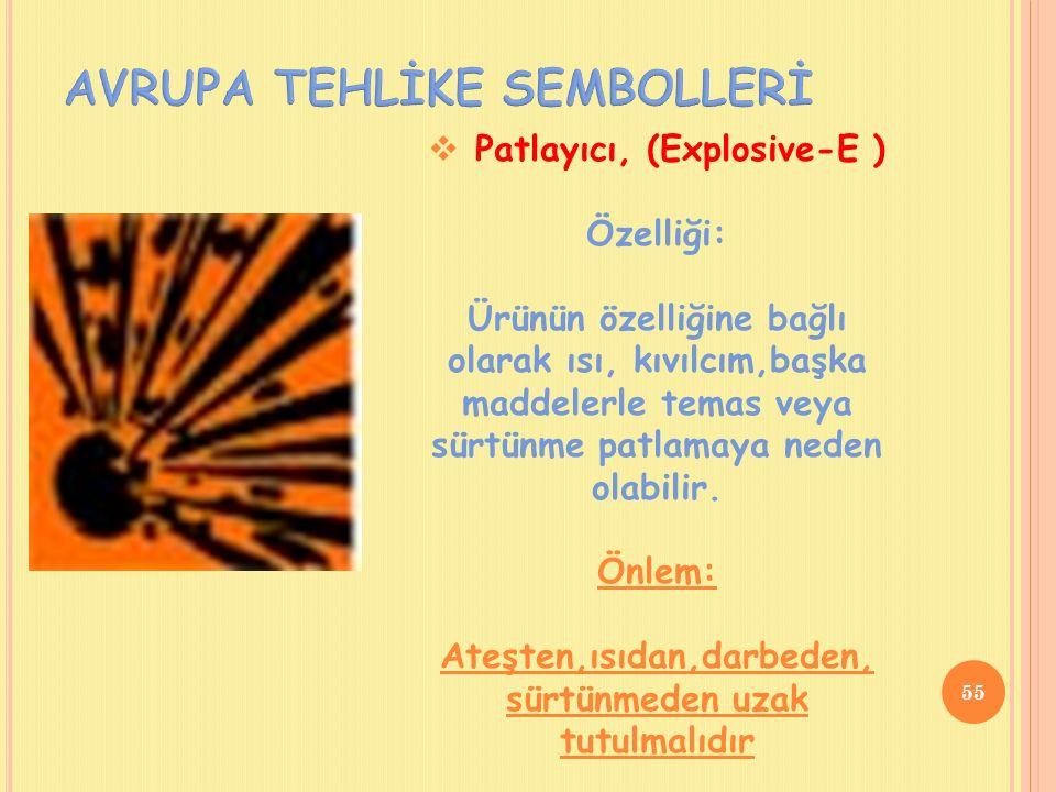  Patlayıcı, (Explosive-E ) Özelliği: Ürünün özelliğine bağlı olarak ısı, kıvılcım,başka maddelerle temas veya sürtünme patlamaya neden olabilir.