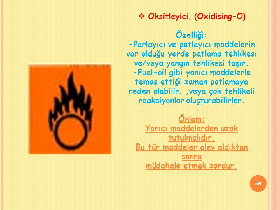  Oksitleyici, (Oxidising-O) Özelliği: -Parlayıcı ve patlayıcı maddelerin var olduğu yerde patlama tehlikesi ve/veya yangın tehlikesi taşır.