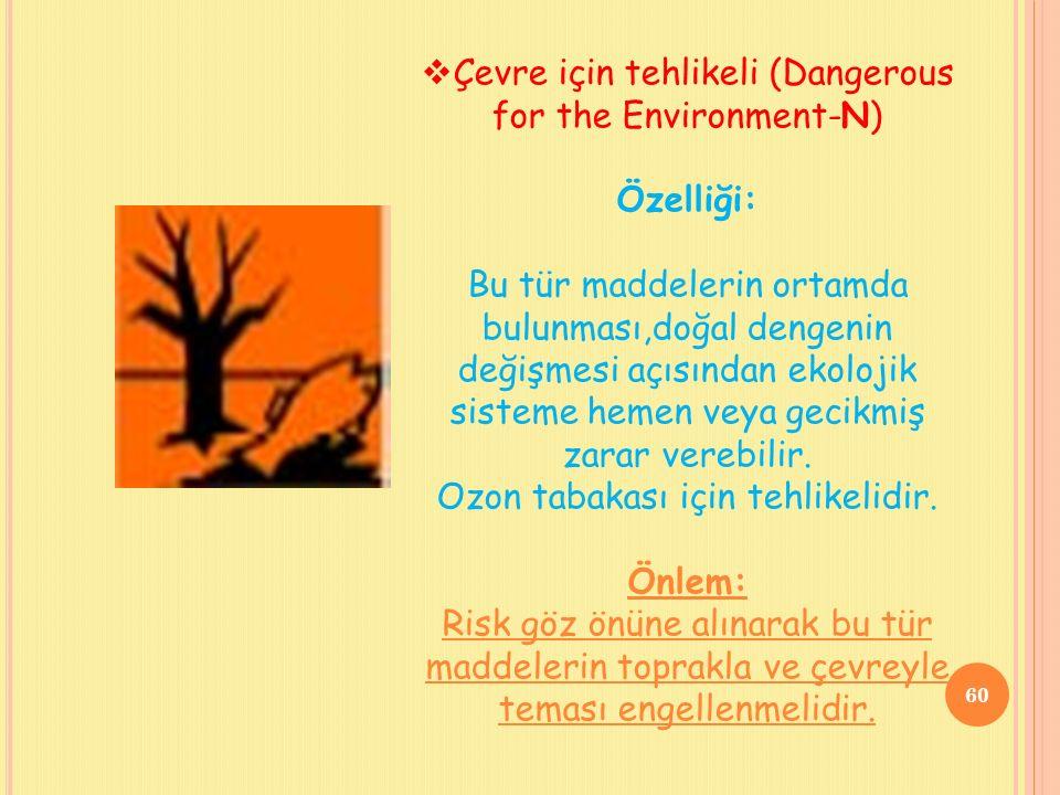 Çevre için tehlikeli (Dangerous for the Environment-N) Özelliği: Bu tür maddelerin ortamda bulunması,doğal dengenin değişmesi açısından ekolojik sisteme hemen veya gecikmiş zarar verebilir.