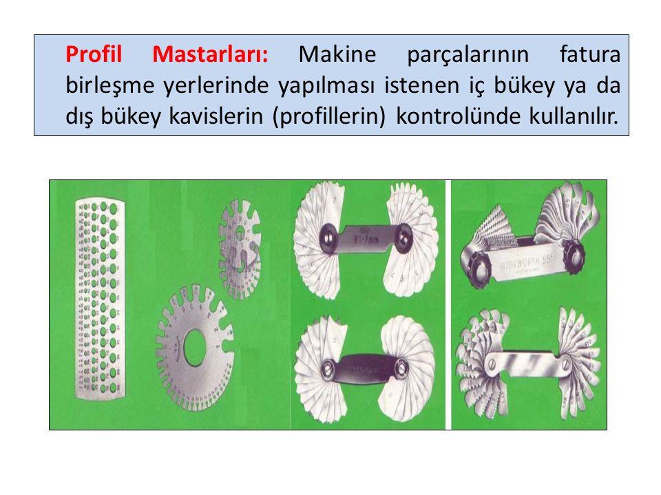 Konik Mastarlar: Konik ölçülerin kontrollerinde kullanılırlar.