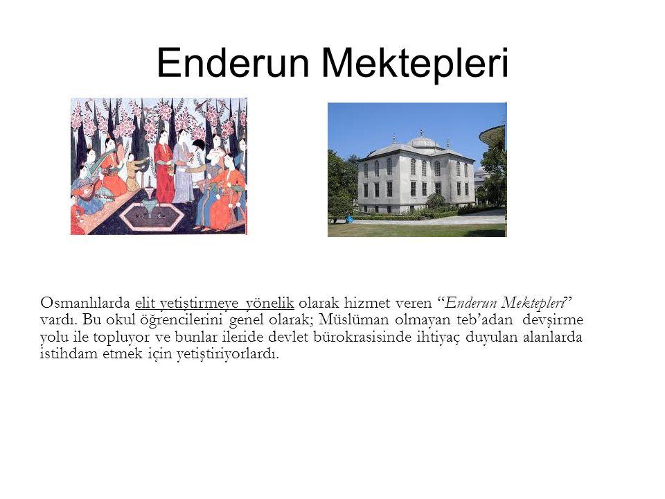 Enderun Mektepleri Osmanlılarda elit yetiştirmeye yönelik olarak hizmet veren Enderun Mektepleri vardı.