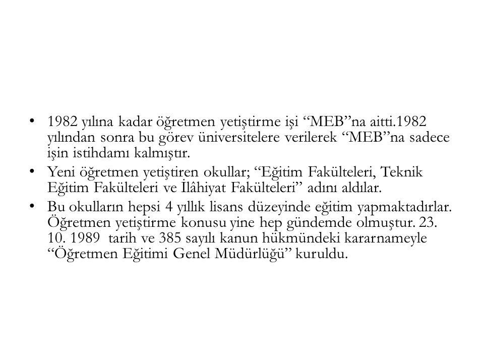 1982 yılına kadar öğretmen yetiştirme işi MEB na aitti.1982 yılından sonra bu görev üniversitelere verilerek MEB na sadece işin istihdamı kalmıştır.