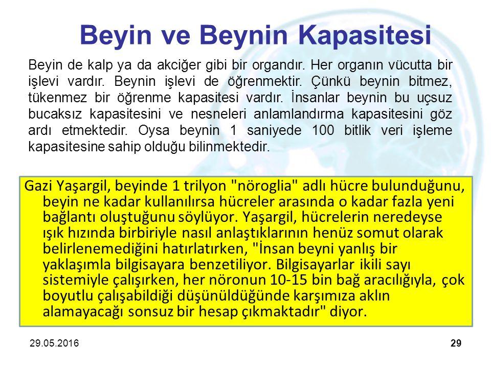 29.05.201629 Beyin ve Beynin Kapasitesi Gazi Yaşargil, beyinde 1 trilyon