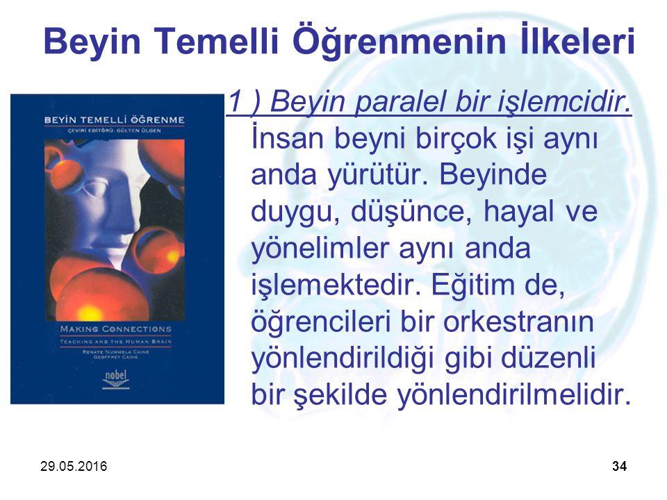 29.05.201634 Beyin Temelli Öğrenmenin İlkeleri 1 ) Beyin paralel bir işlemcidir. İnsan beyni birçok işi aynı anda yürütür. Beyinde duygu, düşünce, hay
