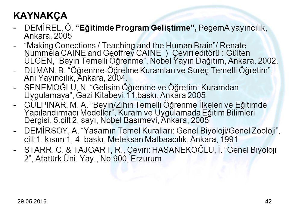 """29.05.201642 KAYNAKÇA - DEMİREL, Ö. """"Eğitimde Program Geliştirme"""", PegemA yayıncılık, Ankara, 2005 -""""Making Conections / Teaching and the Human Brain"""""""