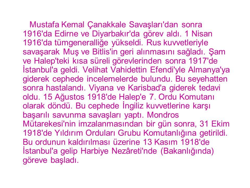 Mustafa Kemal Çanakkale Savaşları'dan sonra 1916'da Edirne ve Diyarbakır'da görev aldı. 1 Nisan 1916'da tümgeneralliğe yükseldi. Rus kuvvetleriyle sav