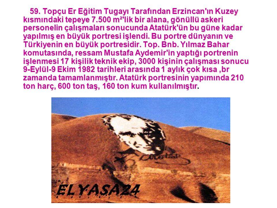 59. Topçu Er Eğitim Tugayı Tarafından Erzincan'ın Kuzey kısmındaki tepeye 7.500 m²'lik bir alana, gönüllü askeri personelin çalışmaları sonucunda Atat