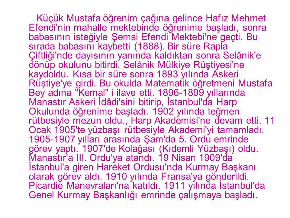 Küçük Mustafa öğrenim çağına gelince Hafız Mehmet Efendi'nin mahalle mektebinde öğrenime başladı, sonra babasının isteğiyle Şemsi Efendi Mektebi'ne ge