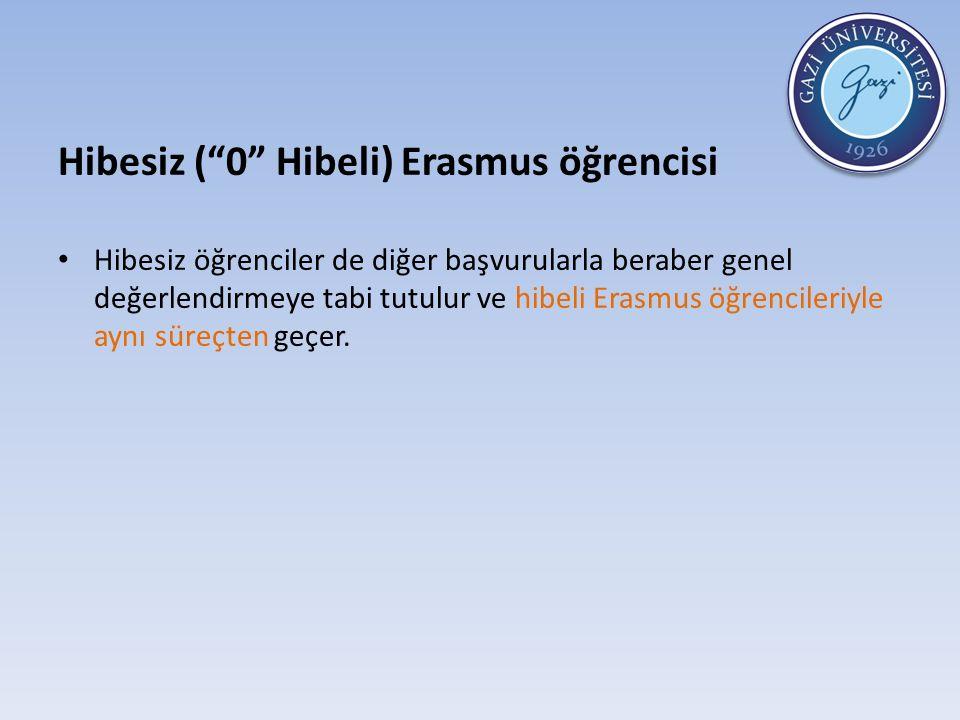 Hibesiz ( 0 Hibeli) Erasmus öğrencisi Hibesiz öğrenciler de diğer başvurularla beraber genel değerlendirmeye tabi tutulur ve hibeli Erasmus öğrencileriyle aynı süreçten geçer.
