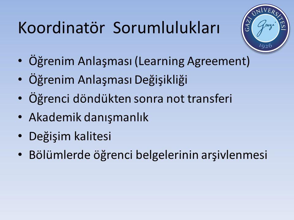 Koordinatör Sorumlulukları Öğrenim Anlaşması (Learning Agreement) Öğrenim Anlaşması Değişikliği Öğrenci döndükten sonra not transferi Akademik danışmanlık Değişim kalitesi Bölümlerde öğrenci belgelerinin arşivlenmesi