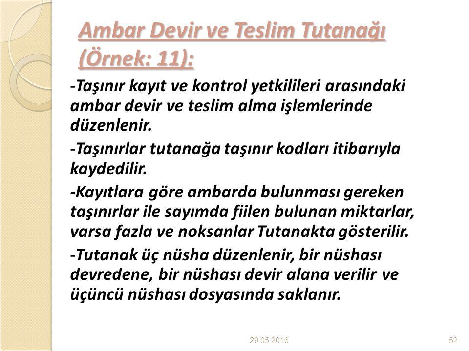 Ambar Devir ve Teslim Tutanağı (Örnek: 11): -Taşınır kayıt ve kontrol yetkilileri arasındaki ambar devir ve teslim alma işlemlerinde düzenlenir.