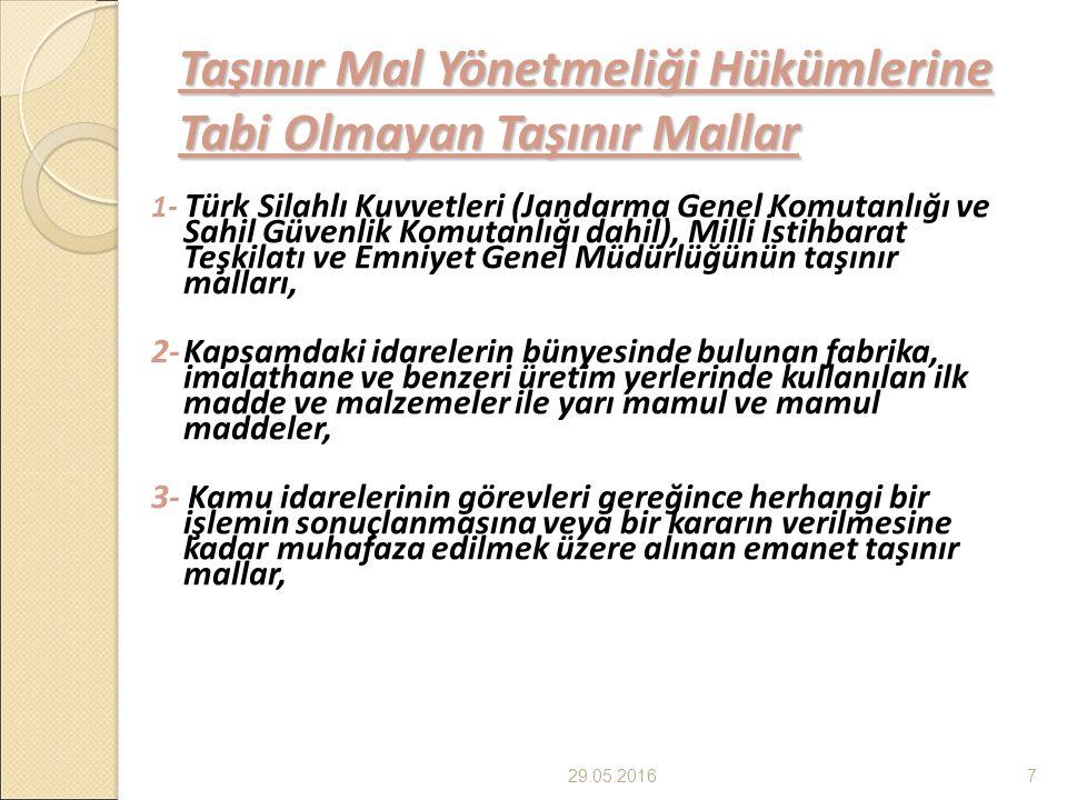 Taşınır Mal Yönetmeliği Hükümlerine Tabi Olmayan Taşınır Mallar 1- Türk Silahlı Kuvvetleri (Jandarma Genel Komutanlığı ve Sahil Güvenlik Komutanlığı dahil), Milli İstihbarat Teşkilatı ve Emniyet Genel Müdürlüğünün taşınır malları, 2-Kapsamdaki idarelerin bünyesinde bulunan fabrika, imalathane ve benzeri üretim yerlerinde kullanılan ilk madde ve malzemeler ile yarı mamul ve mamul maddeler, 3- Kamu idarelerinin görevleri gereğince herhangi bir işlemin sonuçlanmasına veya bir kararın verilmesine kadar muhafaza edilmek üzere alınan emanet taşınır mallar, 29.05.20167