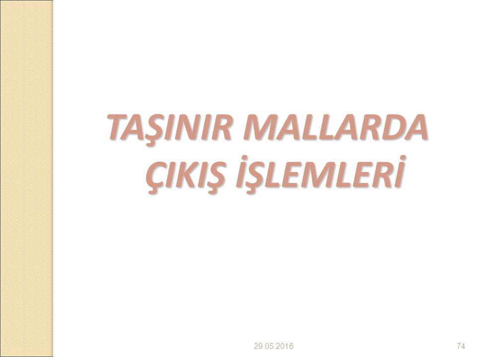 29.05.201674 TAŞINIR MALLARDA ÇIKIŞ İŞLEMLERİ