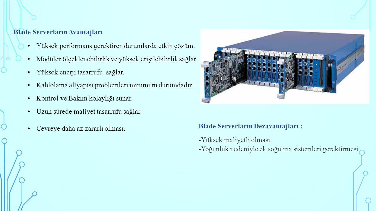 Blade Serverların Avantajları Yüksek performans gerektiren durumlarda etkin çözüm.