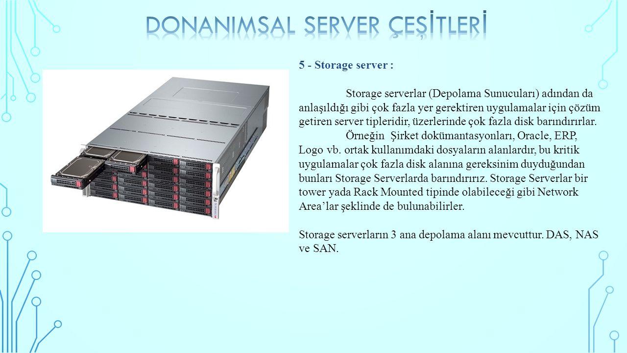 5 - Storage server : Storage serverlar (Depolama Sunucuları) adından da anlaşıldığı gibi çok fazla yer gerektiren uygulamalar için çözüm getiren server tipleridir, üzerlerinde çok fazla disk barındırırlar.