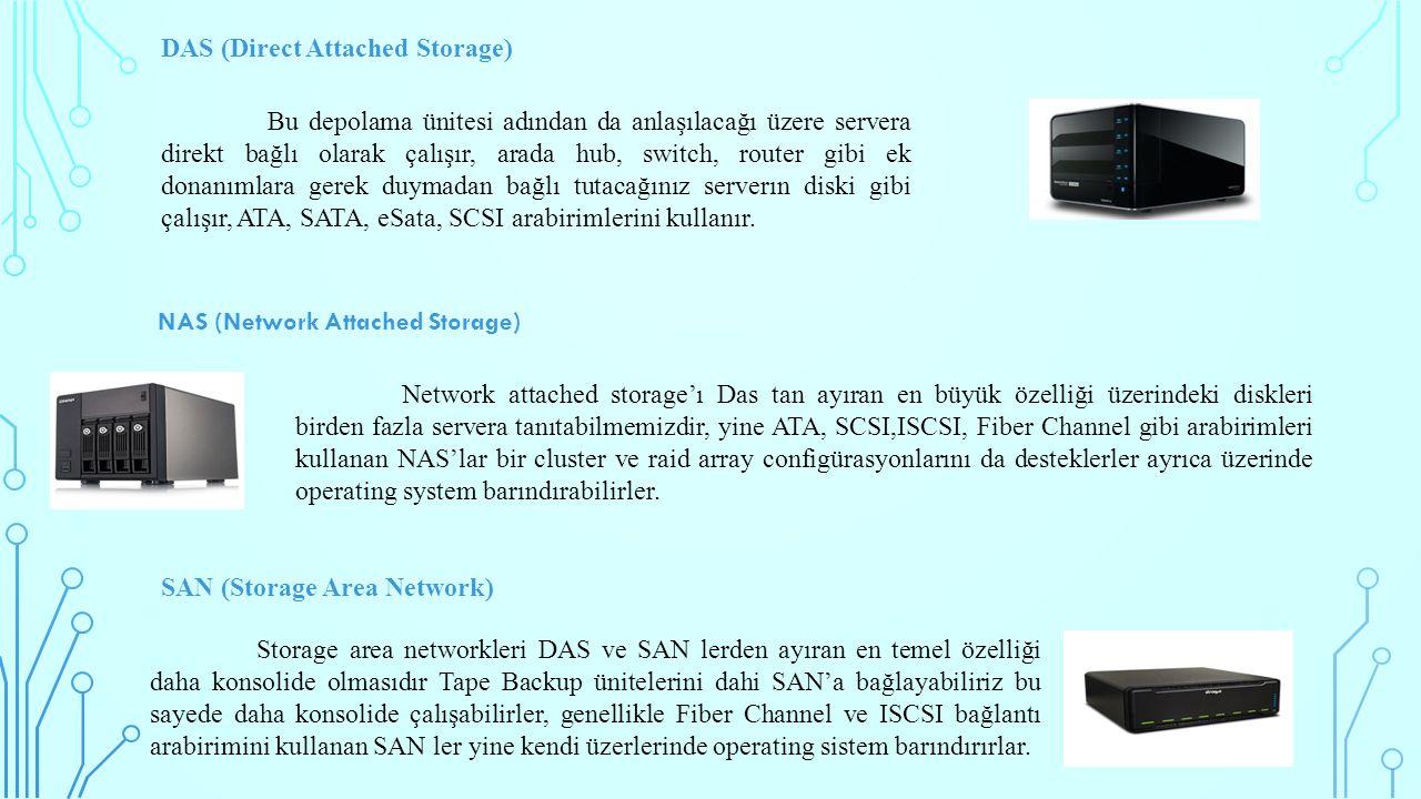 DAS (Direct Attached Storage) Bu depolama ünitesi adından da anlaşılacağı üzere servera direkt bağlı olarak çalışır, arada hub, switch, router gibi ek donanımlara gerek duymadan bağlı tutacağınız serverın diski gibi çalışır, ATA, SATA, eSata, SCSI arabirimlerini kullanır.