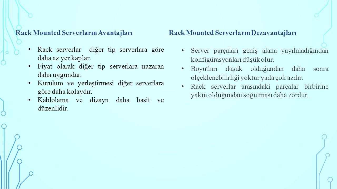 Rack Mounted Serverların Avantajları Rack serverlar diğer tip serverlara göre daha az yer kaplar. Fiyat olarak diğer tip serverlara nazaran daha uygun