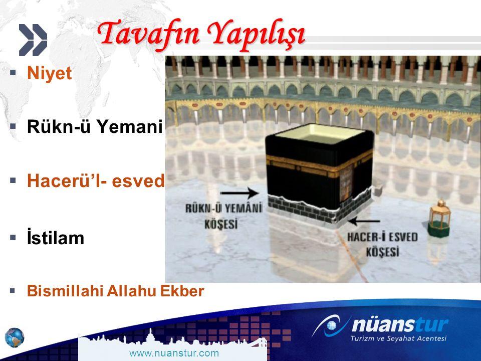 www.nuanstur.com Tavafın Yapılışı  Niyet  Rükn-ü Yemani  Hacerü'l- esved  İstilam  Bismillahi Allahu Ekber