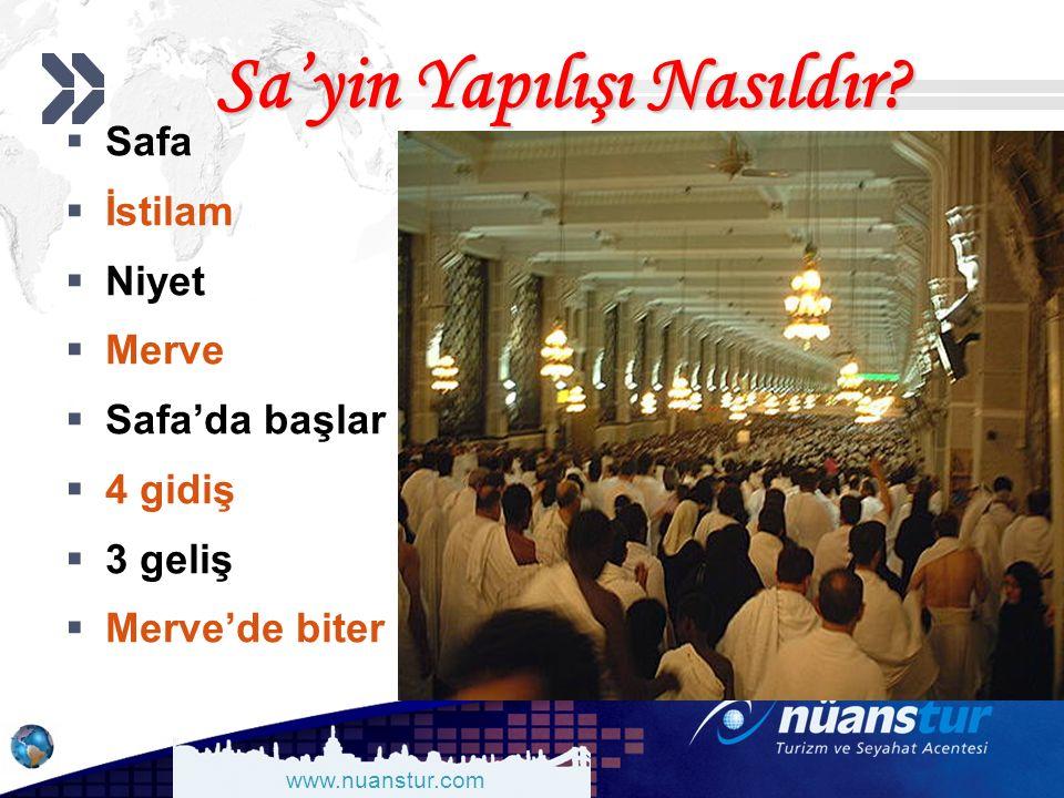 www.nuanstur.com Sa'yin Yapılışı Nasıldır?  Safa  İstilam  Niyet  Merve  Safa'da başlar  4 gidiş  3 geliş  Merve'de biter