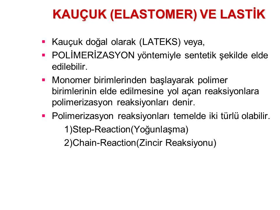 KAUÇUK (ELASTOMER) VE LASTİK  Kauçuk doğal olarak (LATEKS) veya,  POLİMERİZASYON yöntemiyle sentetik şekilde elde edilebilir.  Monomer birimlerinde