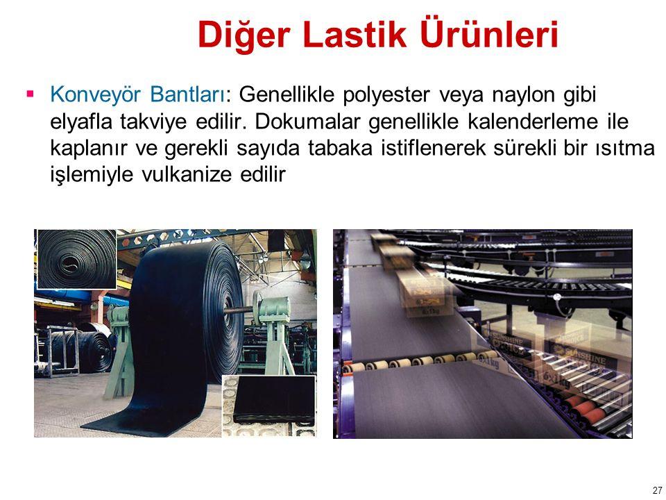 Diğer Lastik Ürünleri  Konveyör Bantları: Genellikle polyester veya naylon gibi elyafla takviye edilir.