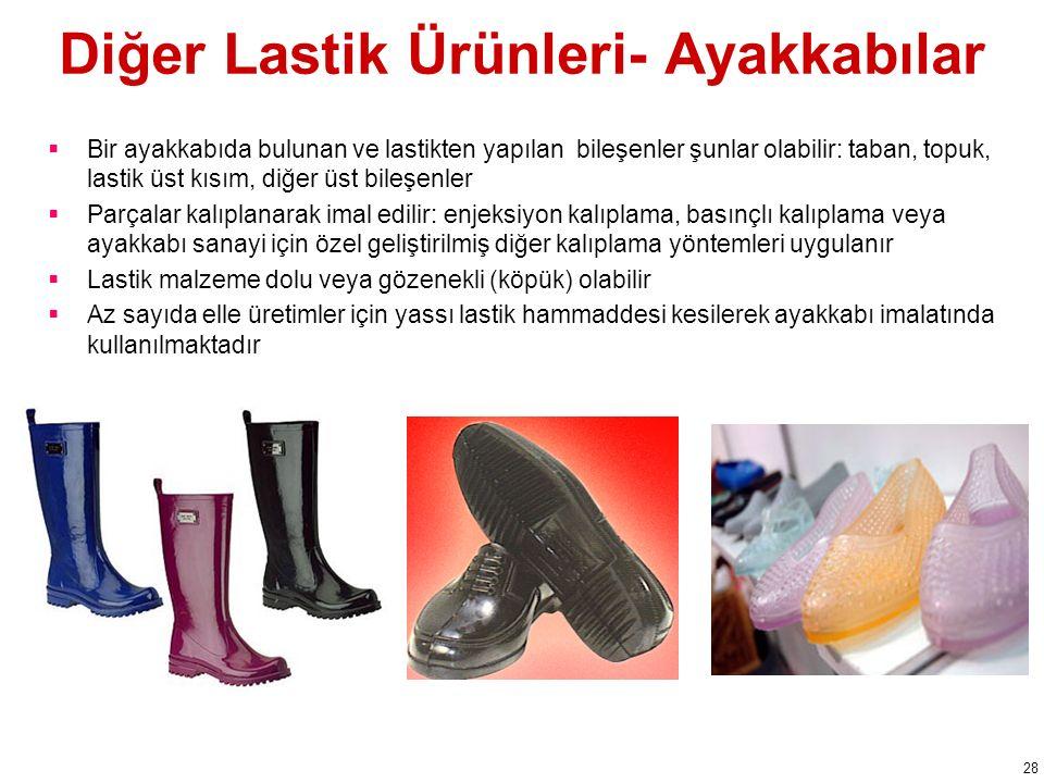 Diğer Lastik Ürünleri- Ayakkabılar  Bir ayakkabıda bulunan ve lastikten yapılan bileşenler şunlar olabilir: taban, topuk, lastik üst kısım, diğer üst bileşenler  Parçalar kalıplanarak imal edilir: enjeksiyon kalıplama, basınçlı kalıplama veya ayakkabı sanayi için özel geliştirilmiş diğer kalıplama yöntemleri uygulanır  Lastik malzeme dolu veya gözenekli (köpük) olabilir  Az sayıda elle üretimler için yassı lastik hammaddesi kesilerek ayakkabı imalatında kullanılmaktadır 28