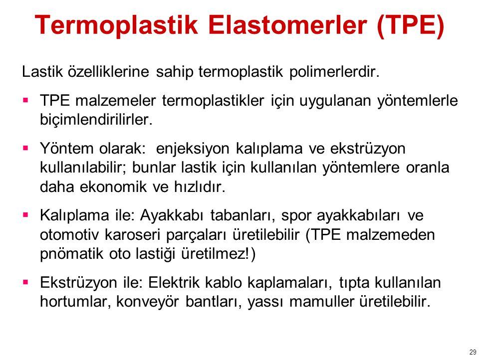 Termoplastik Elastomerler (TPE) Lastik özelliklerine sahip termoplastik polimerlerdir.  TPE malzemeler termoplastikler için uygulanan yöntemlerle biç