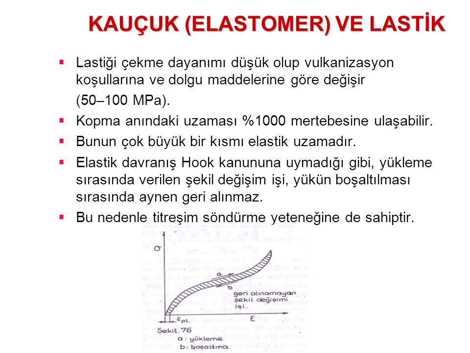 KAUÇUK (ELASTOMER) VE LASTİK  Lastiği çekme dayanımı düşük olup vulkanizasyon koşullarına ve dolgu maddelerine göre değişir (50–100 MPa).  Kopma anı