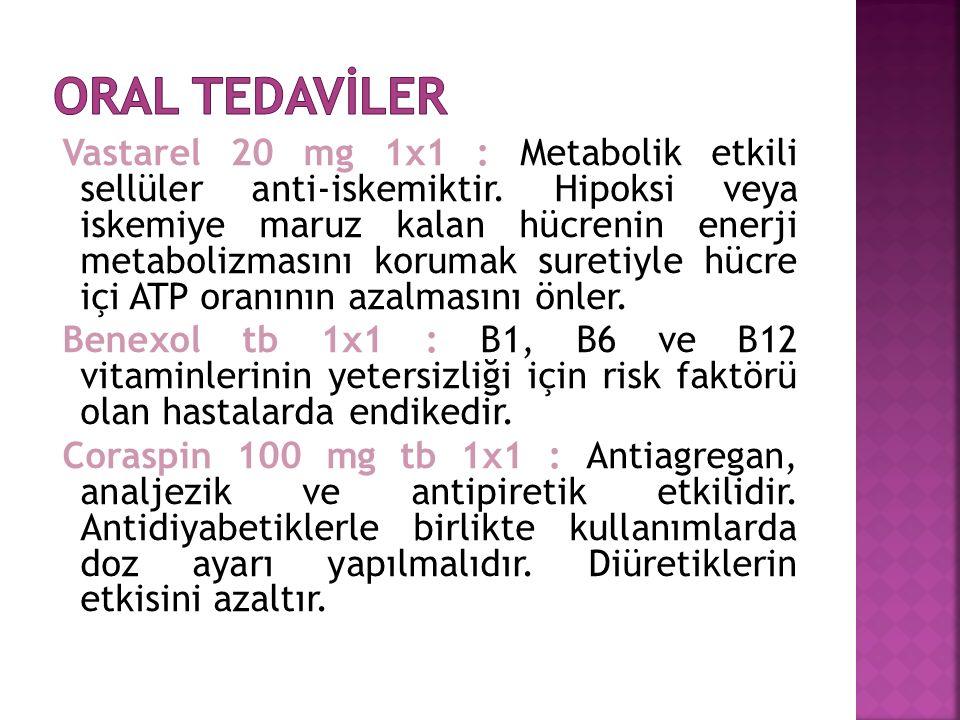 Vastarel 20 mg 1x1 : Metabolik etkili sellüler anti-iskemiktir.