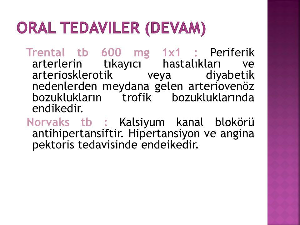 Trental tb 600 mg 1x1 : Periferik arterlerin tıkayıcı hastalıkları ve arteriosklerotik veya diyabetik nedenlerden meydana gelen arteriovenöz bozuklukların trofik bozukluklarında endikedir.