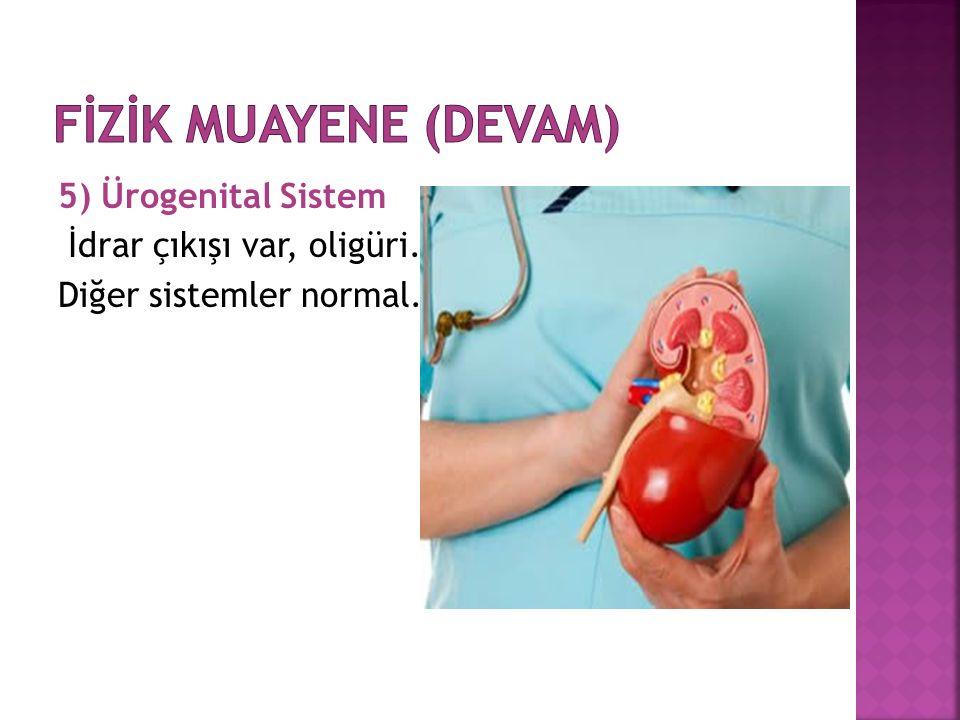 5) Ürogenital Sistem İdrar çıkışı var, oligüri. Diğer sistemler normal.